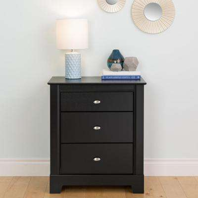 Kallisto 3-Drawer Black Nightstand