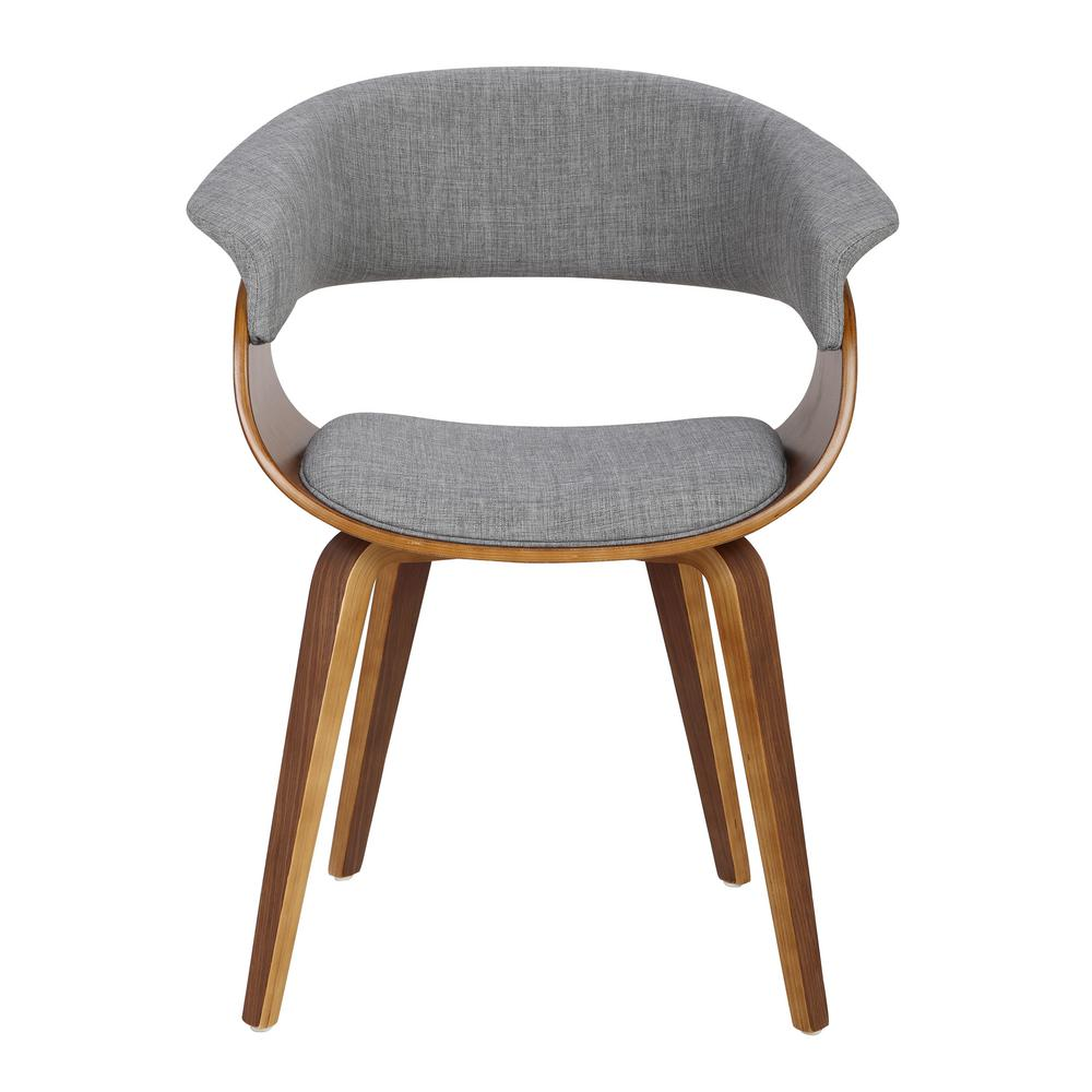 Lumisource Vintage Mod Walnut And Light Grey Dining Accent Chair Ch Vmonl Wl Lgy The Home Depot