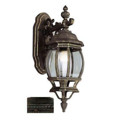 Filigree 1-Light Outdoor Rust Coach Lantern with Clear Glass