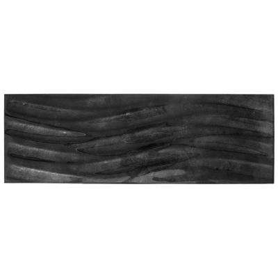 Silver Foil Waves 8 in. x 24 in. x 8 mm Glass Wall Tile