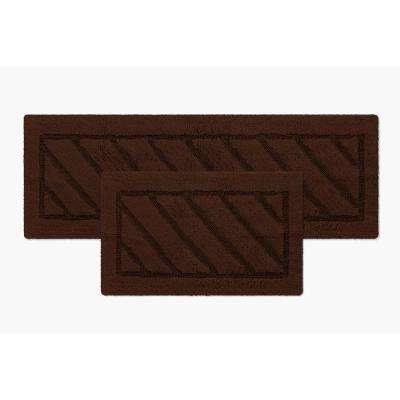 Ruby Collection 17 in. x 24 in. Heavyweight Hand Tufted Cotton Bath Rug Mat in Brown (Set of 2)