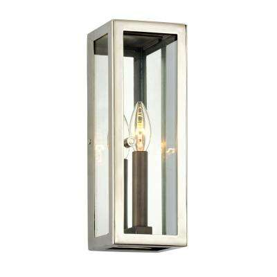 Morgan 1-Light Bronze 12.5 in. H Outdoor Wall Mount Sconce with Clear Glass