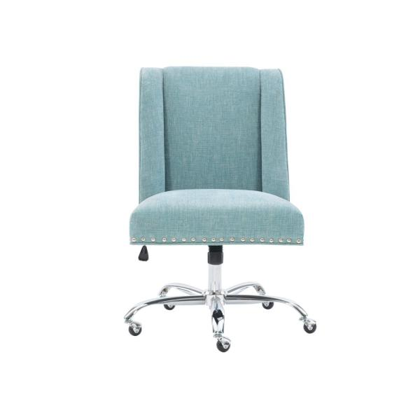 Linon Home Decor Draper Aqua Polyester Office Chair 178404aqua01u The Home Depot