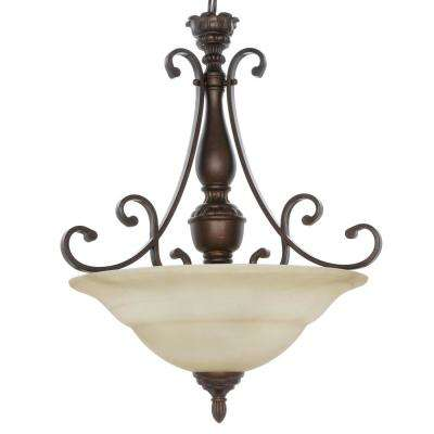 Carina 3-Light Aged Bronze Pendant with Tea-Stained Glass Shade