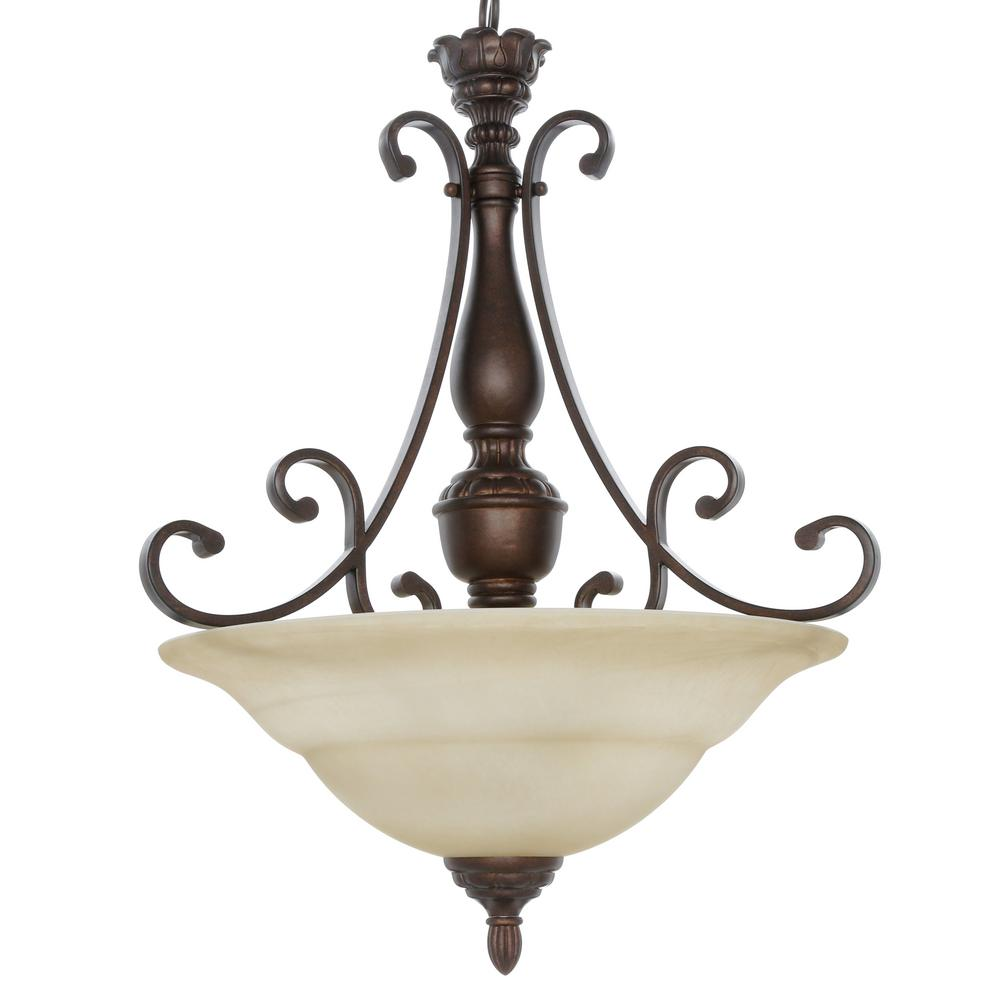 Hampton bay pendant lights lighting the home depot carina 3 light aged bronze pendant with tea stained glass shade aloadofball