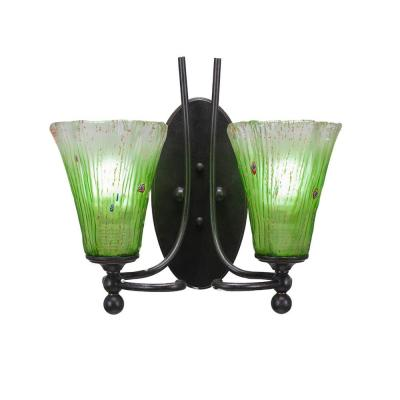 2-Light Dark Granite Sconce with Fluted Kiwi Green Ribbed Glass