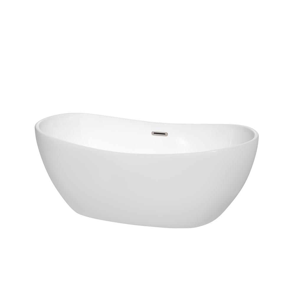 Wyndham Collection Rebecca 60 in. Acrylic Flatbottom Non-Whirlpool ...