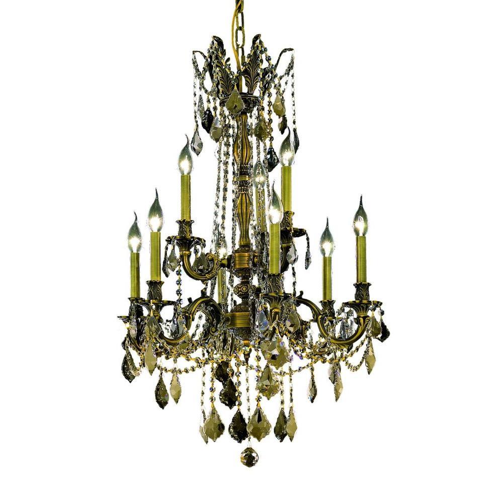 9-Light Antique Bronze Chandelier with Golden Teak Smoky Crystal