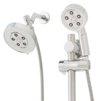 Neo Anysream 3-Spray Hand Shower and Fixed Showerhead Combo with ADA Grab Bar in Polished Chrome