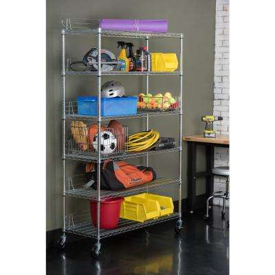 6-Tier 48 in. x 18 in. 77 in. Shelving Rack with Wheels in Chrome