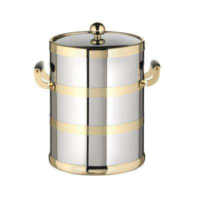 Americano 5 Qt. Polished Chrome and Brass Ice Bucket with Brass Lid with Wood Side Handles