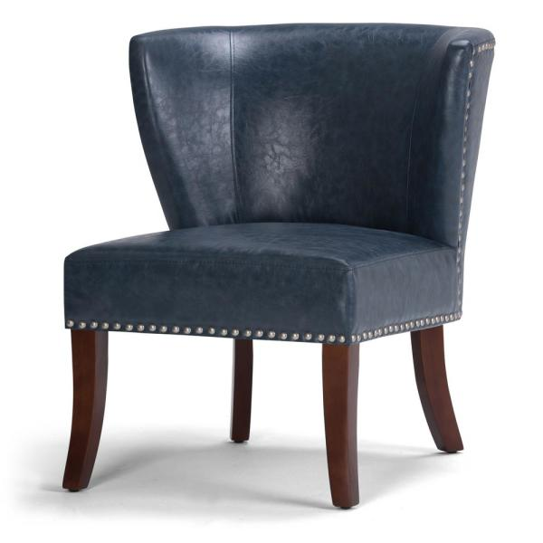 Simpli Home Jamestown 27 in. Wide Transitional Accent Chair in Denim