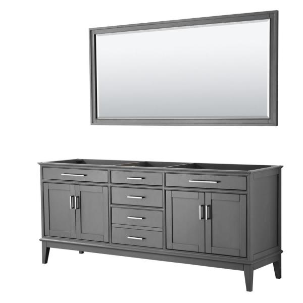 Margate 78.5 in. W x 21.5 in. D Bath Vanity Cabinet Only with 70 in. Mirror in Dark Gray