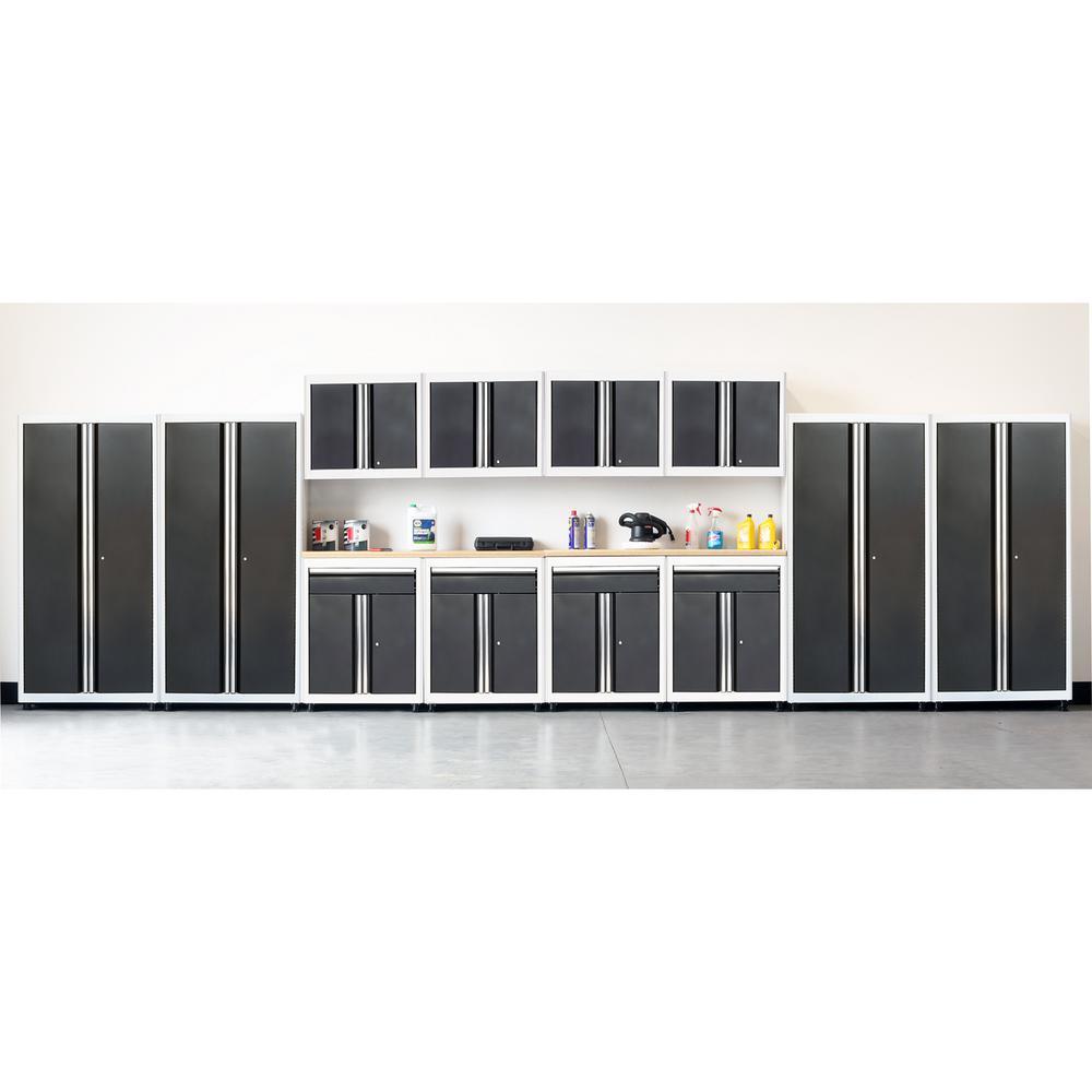 75 in. H x 264 in. W x 18 in. D Welded Steel Garage Cabinet Set in White/Charcoal (14-Piece)