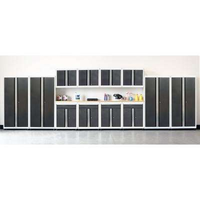 75 in. H x 264 in. W x 18 in. D Welded Steel Garage Cabinet Set in White/Charcoal (14-Piece)