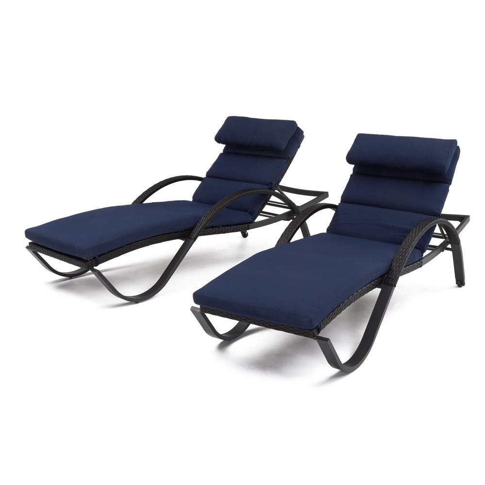 Deco 2-Piece Wicker Outdoor Chaise Lounge with Sunbrella Navy Blue Cushions