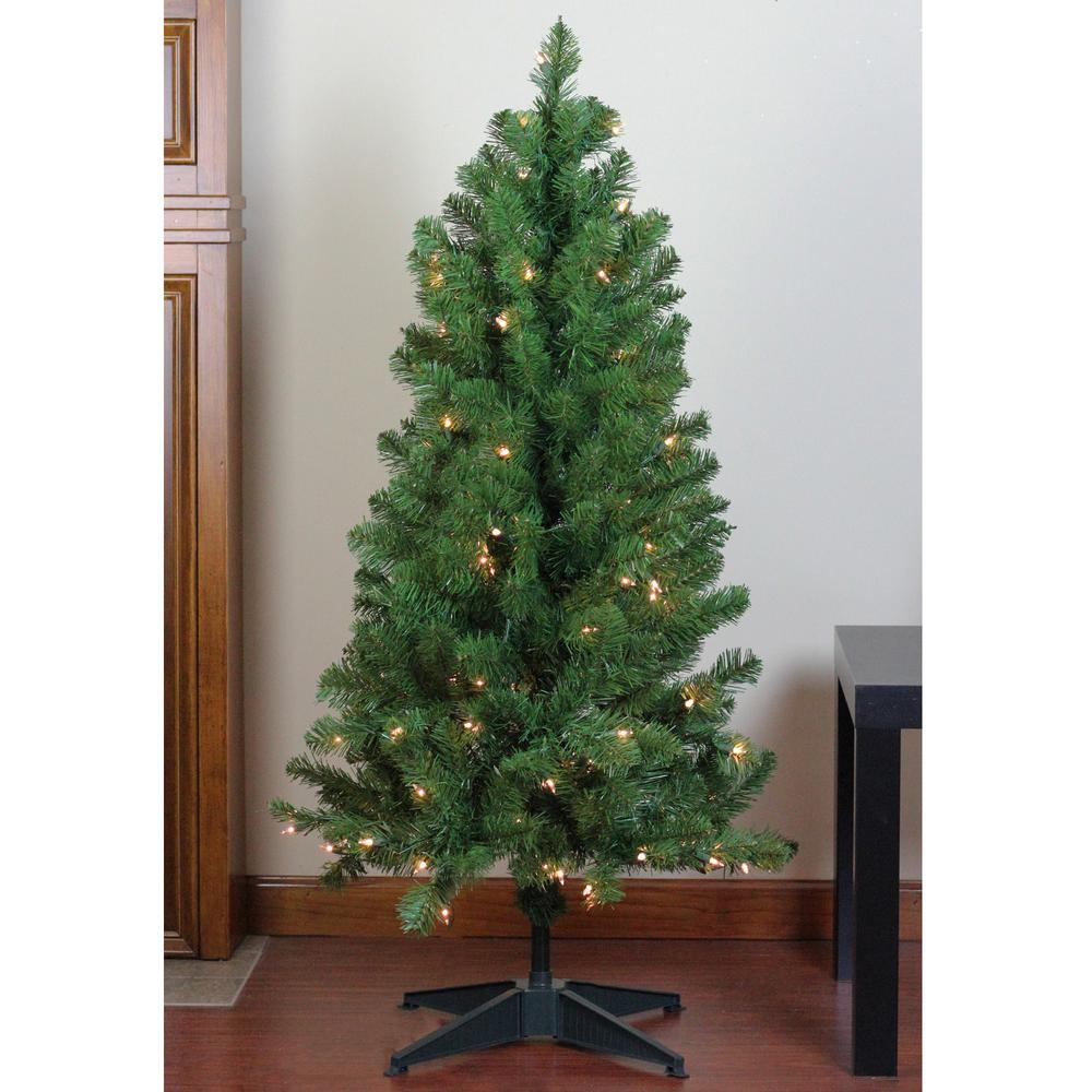 4 Ft X 25 In Pre Lit Le Pine Artificial Christmas Tree Clear Lights