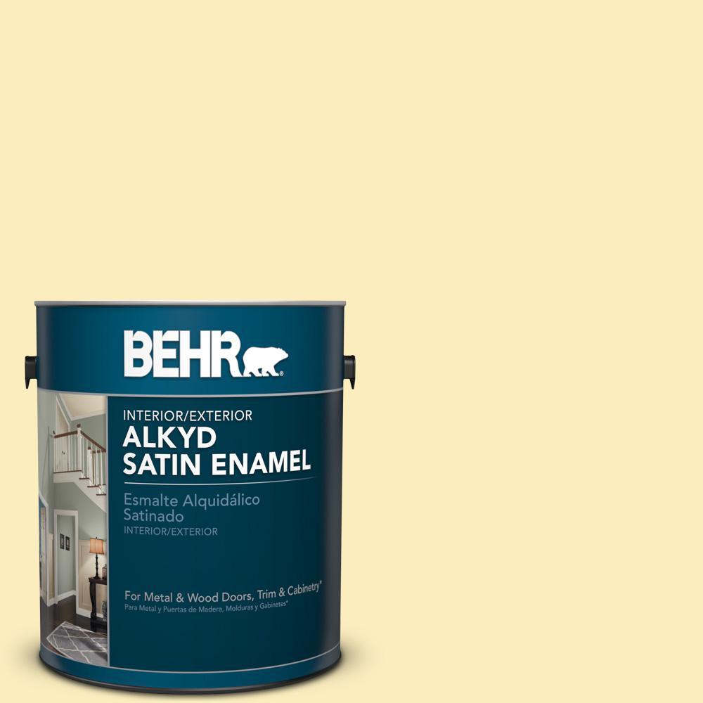 1 gal. #P290-1 Soft Buttercup Satin Enamel Alkyd Interior/Exterior Paint