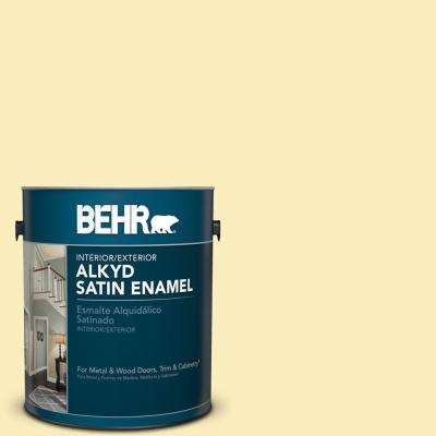 1 gal. #P290-1 Soft Buttercup Satin Enamel Alkyd Interior/Exterior Paint