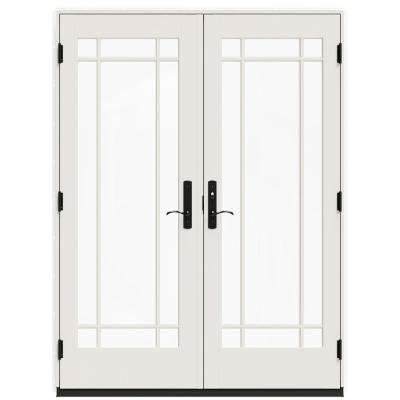 60 in. x 80 in. W-4500 Contemporary White Clad Wood Left-Hand 9 Lite French Patio Door w/White Paint Interior
