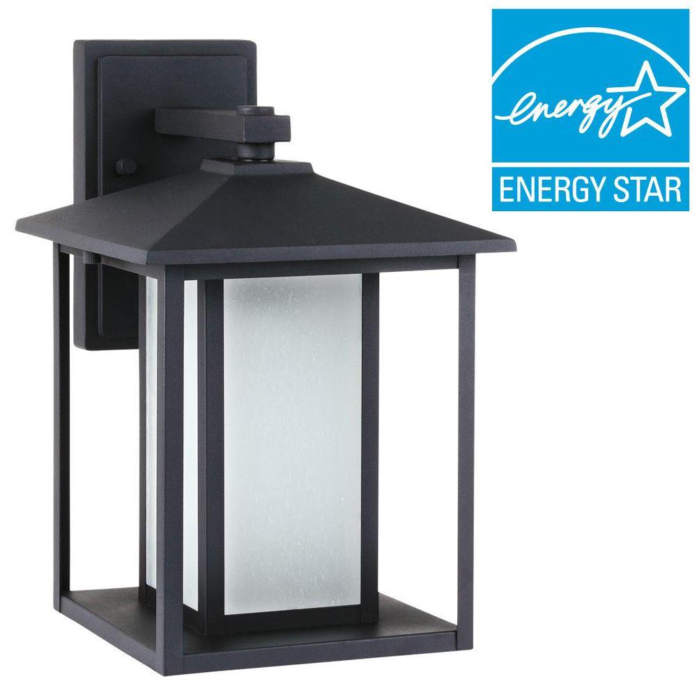 Hunnington 1-Light Outdoor Black Wall Mount Lantern