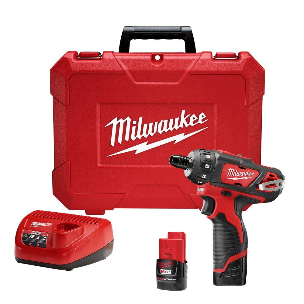 M12 12-Volt Lithium-Ion Cordless 1/4 in. Hex 2-Speed Screwdriver Kit with