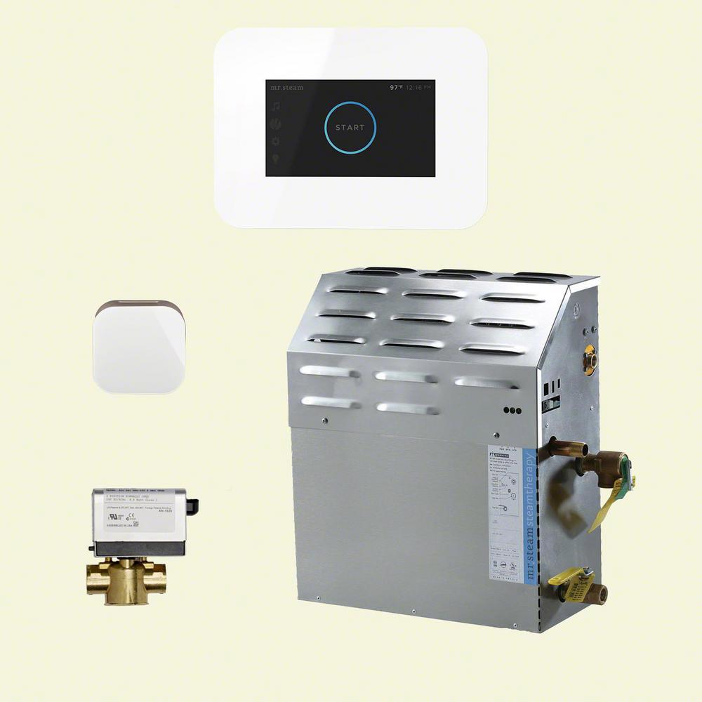 15kW Steam Bath Generator with iSteam3 AutoFlush Package in White