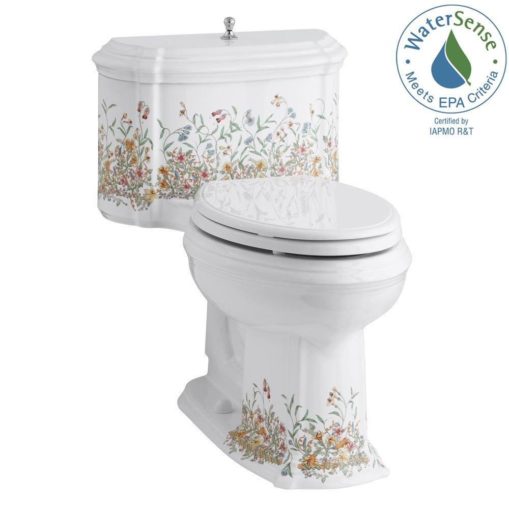 English Trellis 1-Piece 1.28 GPF Single Flush Elongated Toilet in White