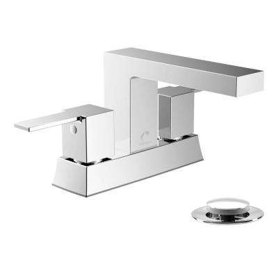 Belanger 4 in. Centerset 2-Handle Bathroom Faucet with Pop-Up Drain in Polished Chrome
