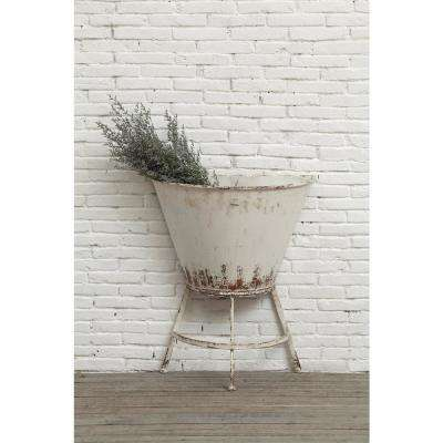 24-1/4 in. L x 30 in. H White Metal Half Wall Planter on Stand