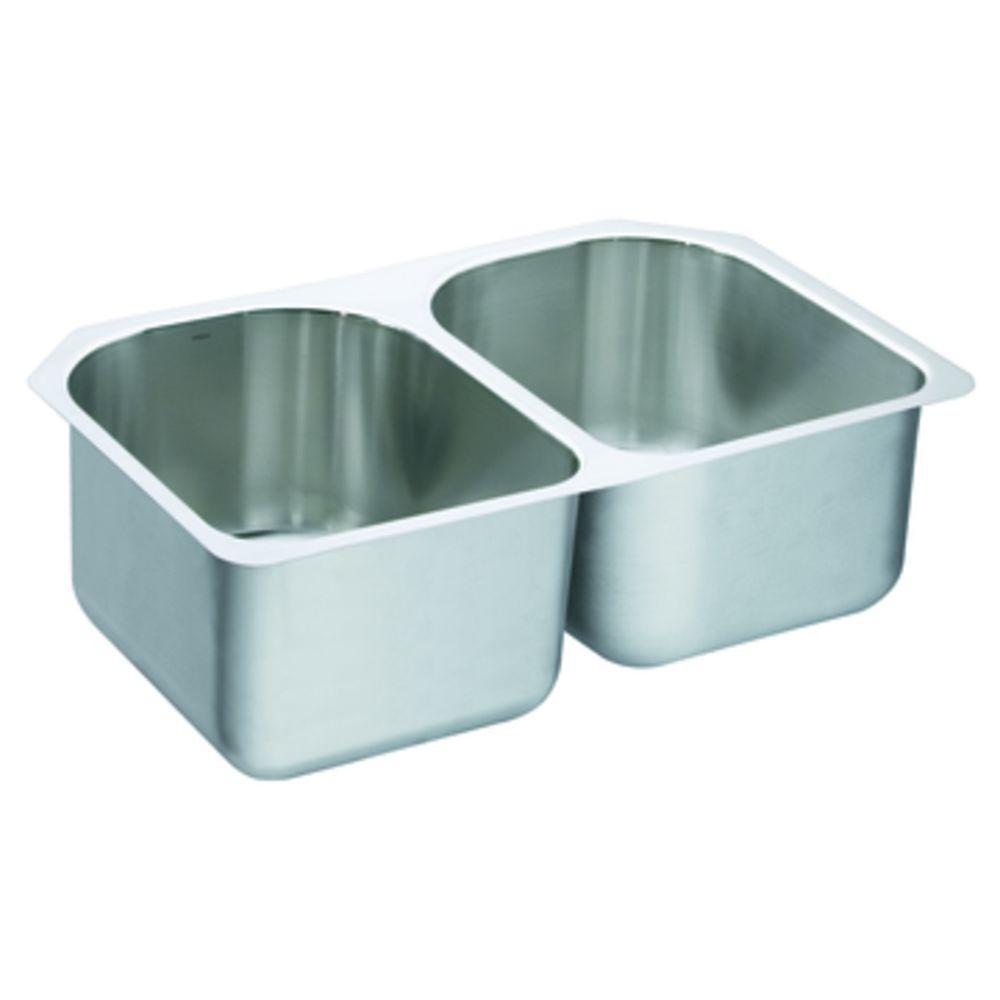 MOEN Lancelot Drop-In/Undermount 24 in. x 37 in. 18-Gauge Stainless-Steel Double Bowl Kitchen Sink-DISCONTINUED