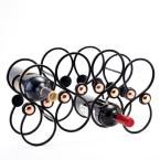 """Old Dutch 8 Bottle """"Bouton"""" Wine Rack with Hammered Copper Accents"""