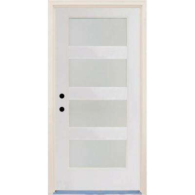 36 in.x80 in. Elite Righthand 4Lite Satin Etch Glass Contemporary Unfinished Fiberglass Prehung Front Door w/ Brickmould