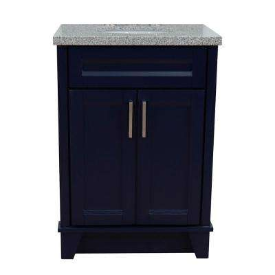 25 in. W x 22 in. D Single Bath Vanity in Blue with Granite Vanity Top in Gray with White Oval Basin