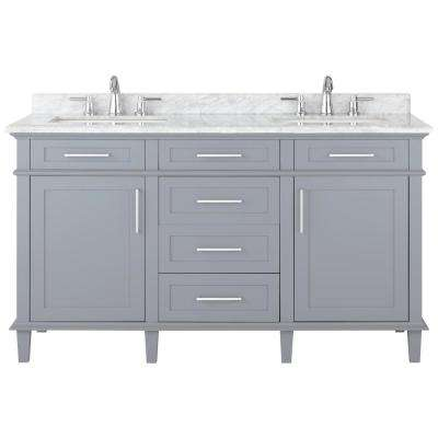 Sonoma 60 in. W x 22 in. D Double Bath Vanity in Pebble Grey with Carrara Marble Top with White Basins
