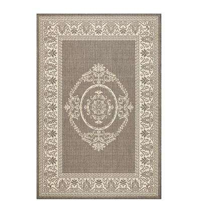 Antique Medallion Grey/Champagne 4 ft. x 5 ft. Indoor/Outdoor Area Rug