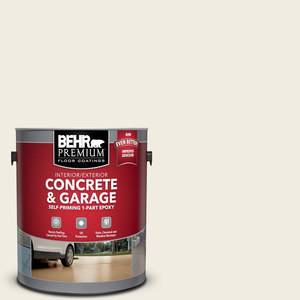 BEHR Premium 1 gal. #12 Swiss Coffee Self-Priming 1-Part Epoxy Satin Interior/Exterior Concrete and Garage Floor Paint