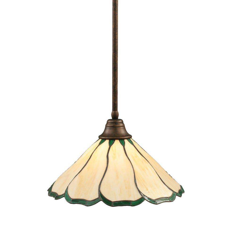 Filament Design Concord 1-Light Bronze Pendant with Honey and Hunter Green Flair Tiffany Glass