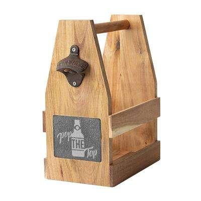 Pop the Top Acacia and Slate Beer Carrier