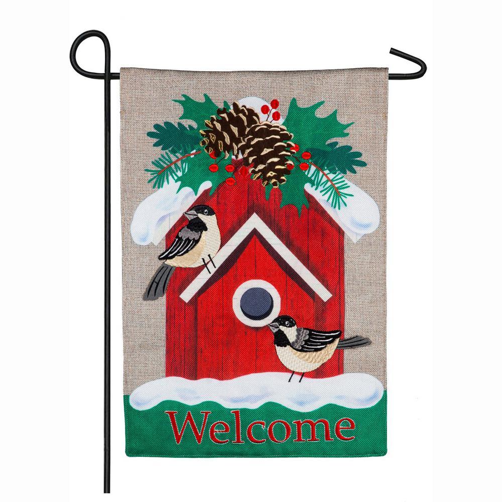 Evergreen 18 in. x 12.5 in. Holiday Chickadee Birdhouse Garden Burlap Flag