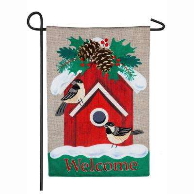18 in. x 12.5 in. Holiday Chickadee Birdhouse Garden Burlap Flag