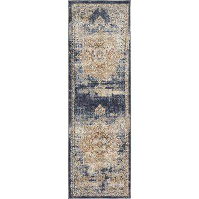 Chateau Roosevelt Dark Blue 2' 2 x 6' 7 Runner Rug