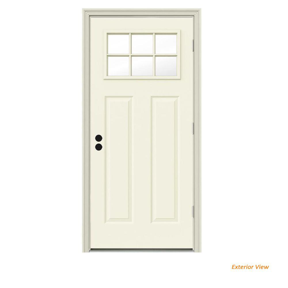 34 in. x 80 in. 6 Lite Craftsman Vanilla Painted Steel Prehung Left-Hand Outswing Front Door w/Brickmould