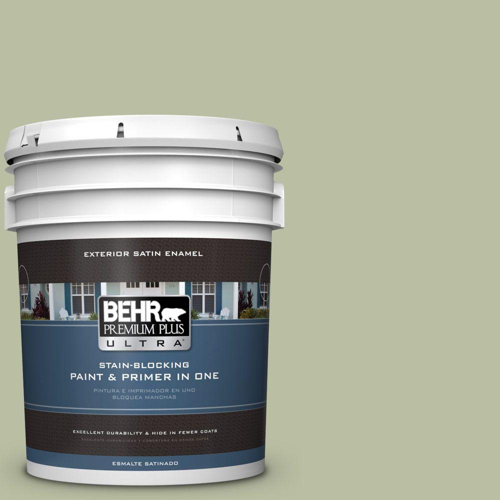 BEHR Premium Plus Ultra 5-gal. #ICC-57 Dried Thyme Satin Enamel Exterior Paint