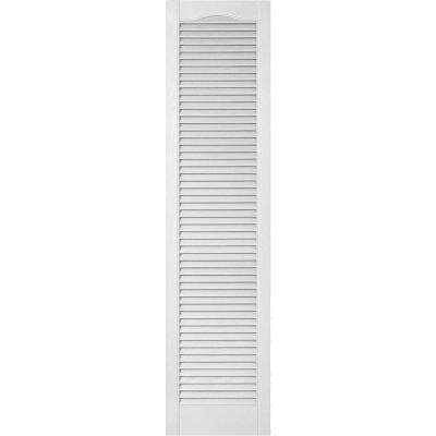 12 in. x 42 in. Lifetime Vinyl Custom Cathedral Top All Louvered Open Louvered Shutters Pair Paintable