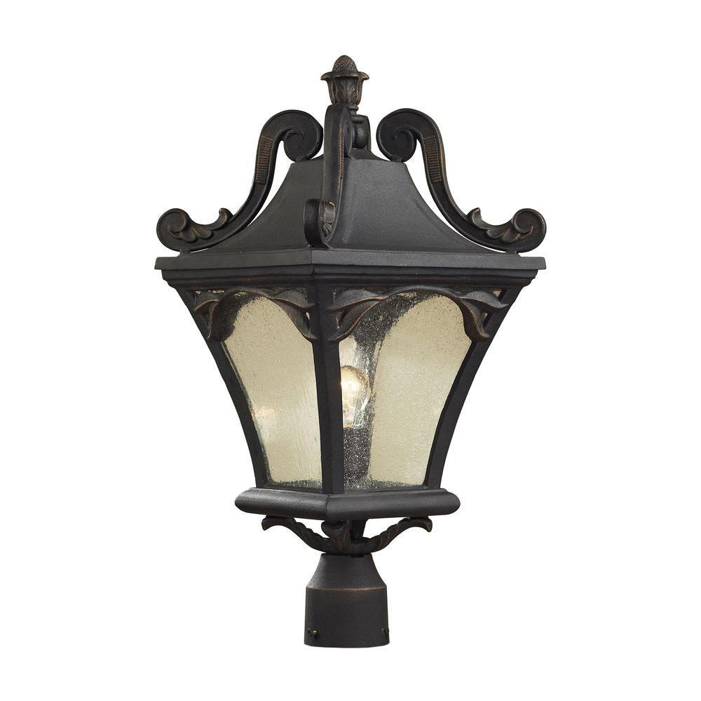 Titan Lighting Hamilton Park 1-Light Outdoor Weathered Charcoal Post Light-DISCONTINUED