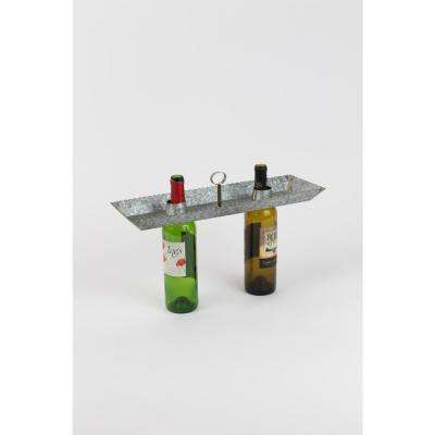 Grey Galvanized Metal Double Bottle Serving Topper With Brass Beading Detail