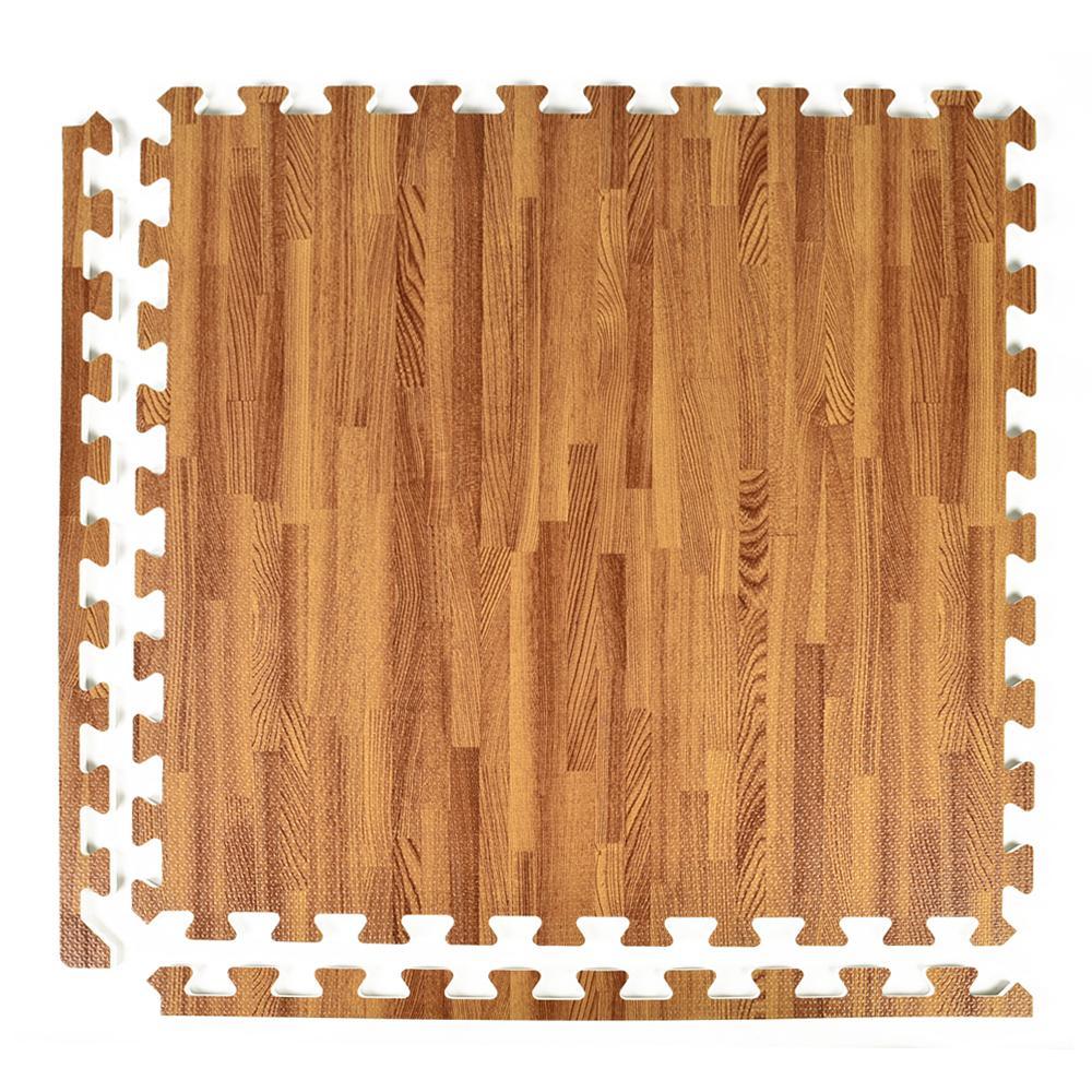 FoamFloor Dark Wood Grain Design 2 ft. x 2 ft. x 1/2 in. Foam Interlocking Floor Tiles (Case of 25)
