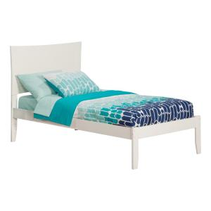 Metro White Twin XL Platform Bed with Open Foot Board