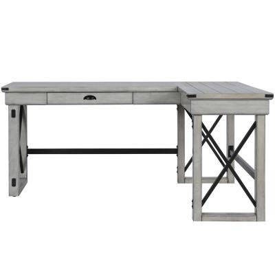 68 in. L-Shaped Rustic White 1 Drawer Computer Desk with Built-In Storage